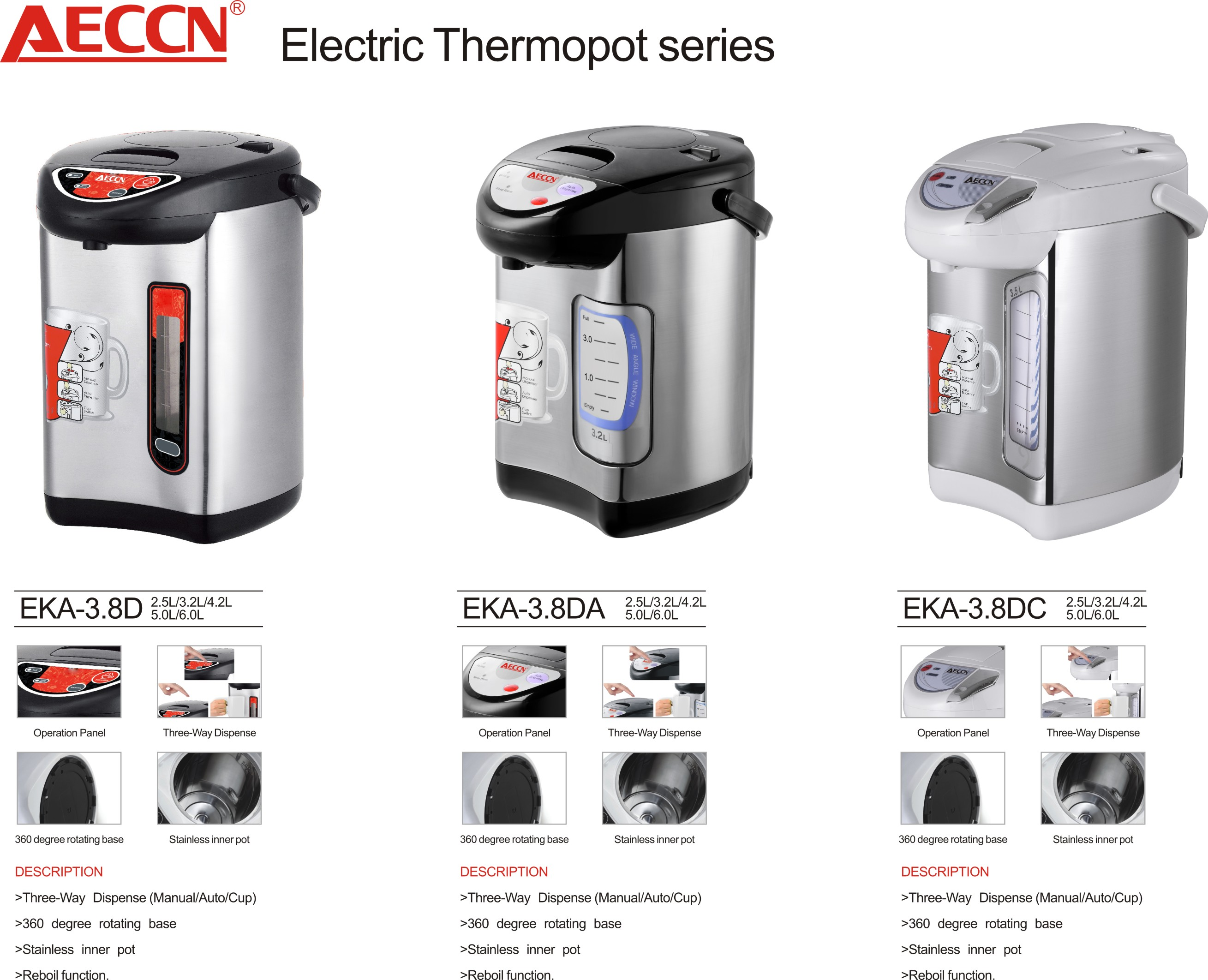 HYB-3.8F Hot Sell Electric Thermo Pot With Three Water Dispenser function