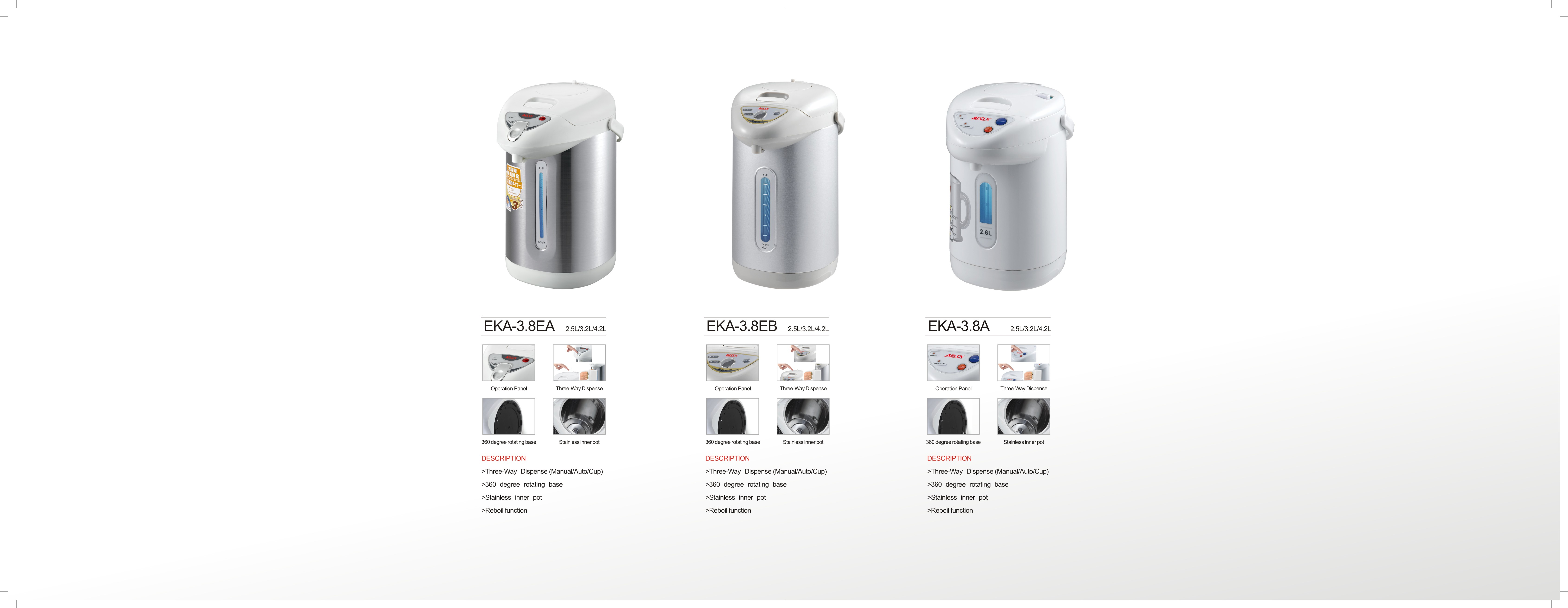 EKA-3.8EA New 304 stainless steel electric hot boiling thermo airpot