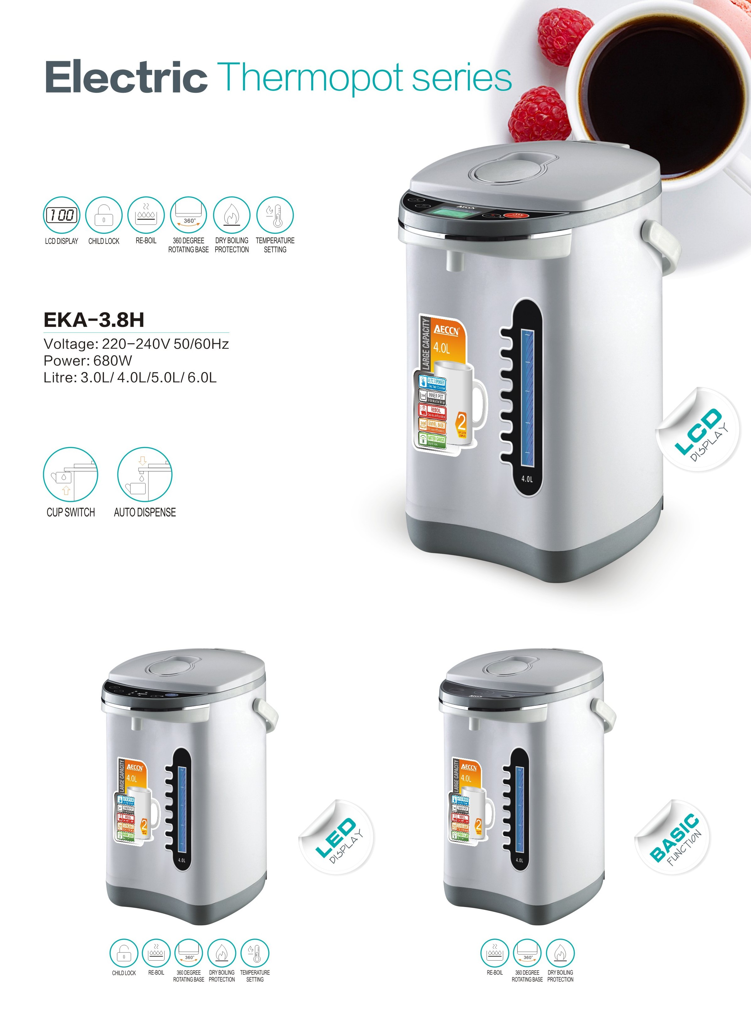 EKA-3.8H Good sell in Amazon Electric Thermo pot, electric hot pot, electric dispenser pot with CB C