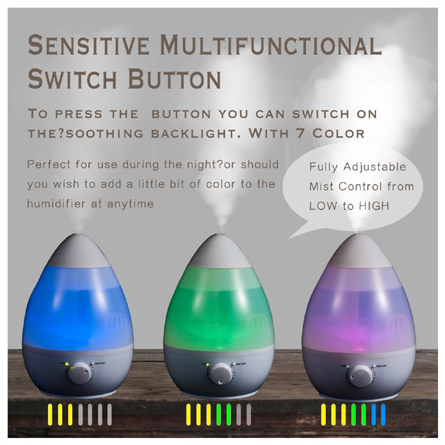 HYB-62Cool Mist Humidifier, Variable Mist Control Settings, Nightlight, Superior Ultrasonic 2.5 Lite