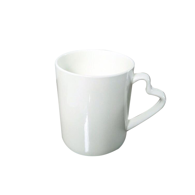Heart Shape Handled Bone China White Mugs
