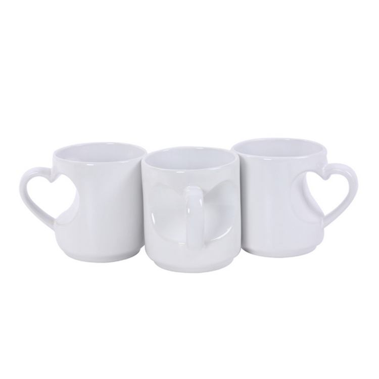 Heart Shape Handled White Mugs