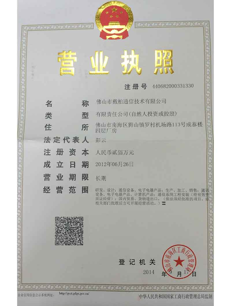 Business license of a corporation