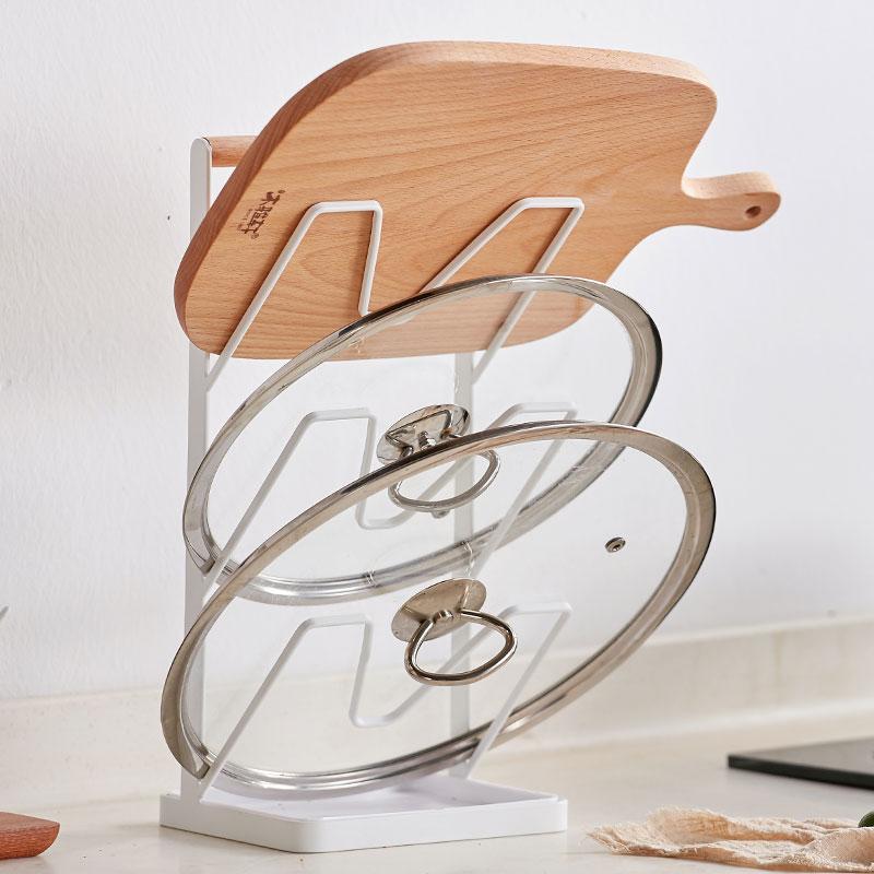 多功能锅盖架砧板架(橡胶木、铁艺)