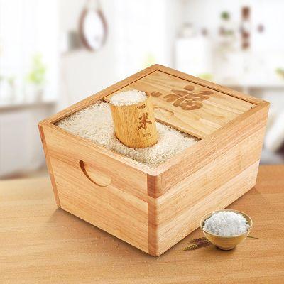 橡胶木推拉式实木米箱米桶