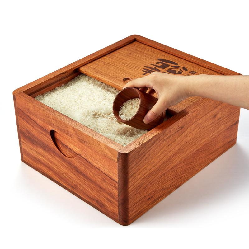 花梨木单门推拉式米桶