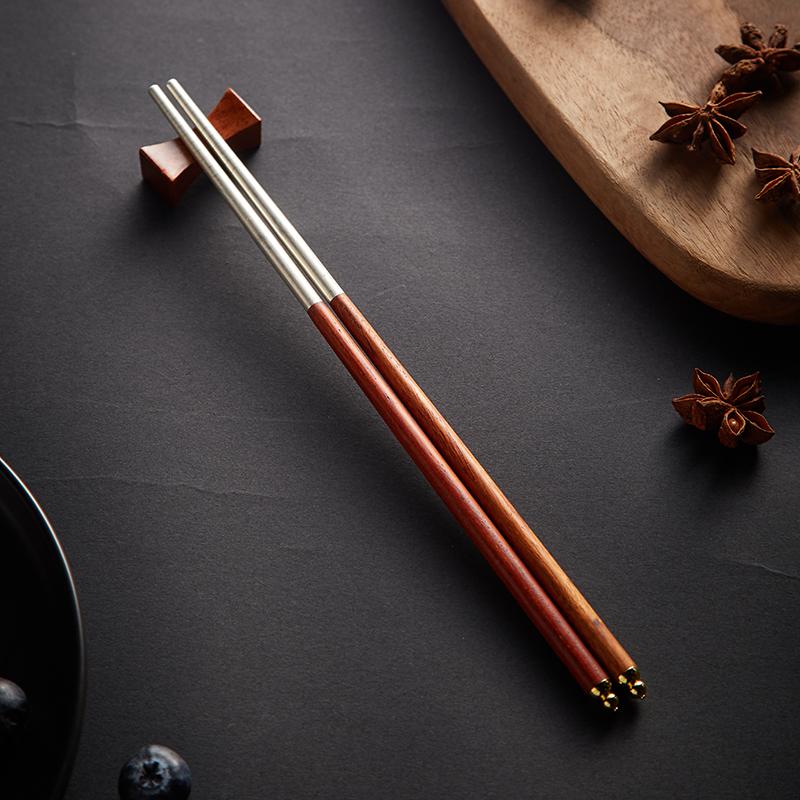 花梨木纯银筷子