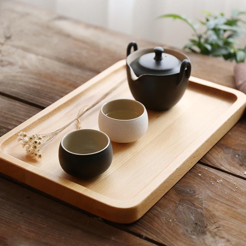 榉木方形托盘糖果盘茶盘