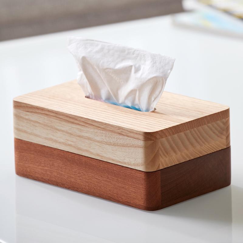 实木纸巾盒(乌檀木拼水曲柳)