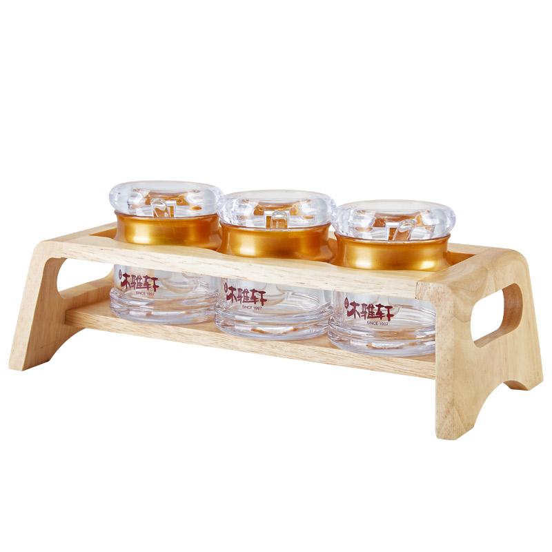亚克力调味瓶3件套橡胶木架