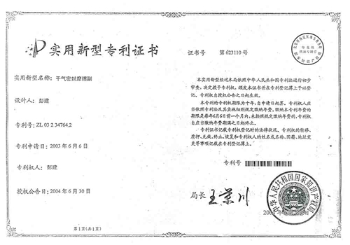 Dry gas seal friction patent certificate