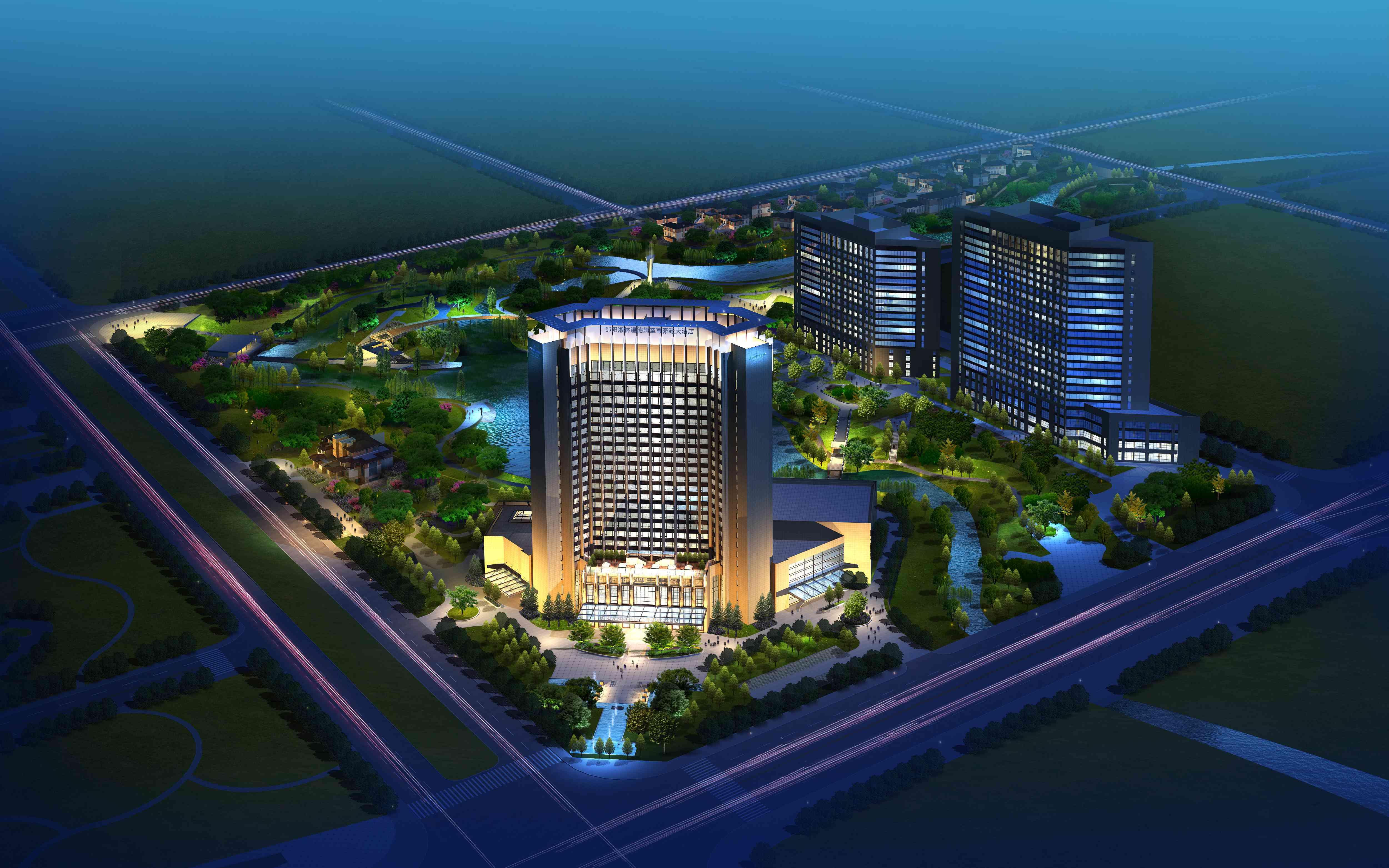 酒店 夜景鸟瞰图