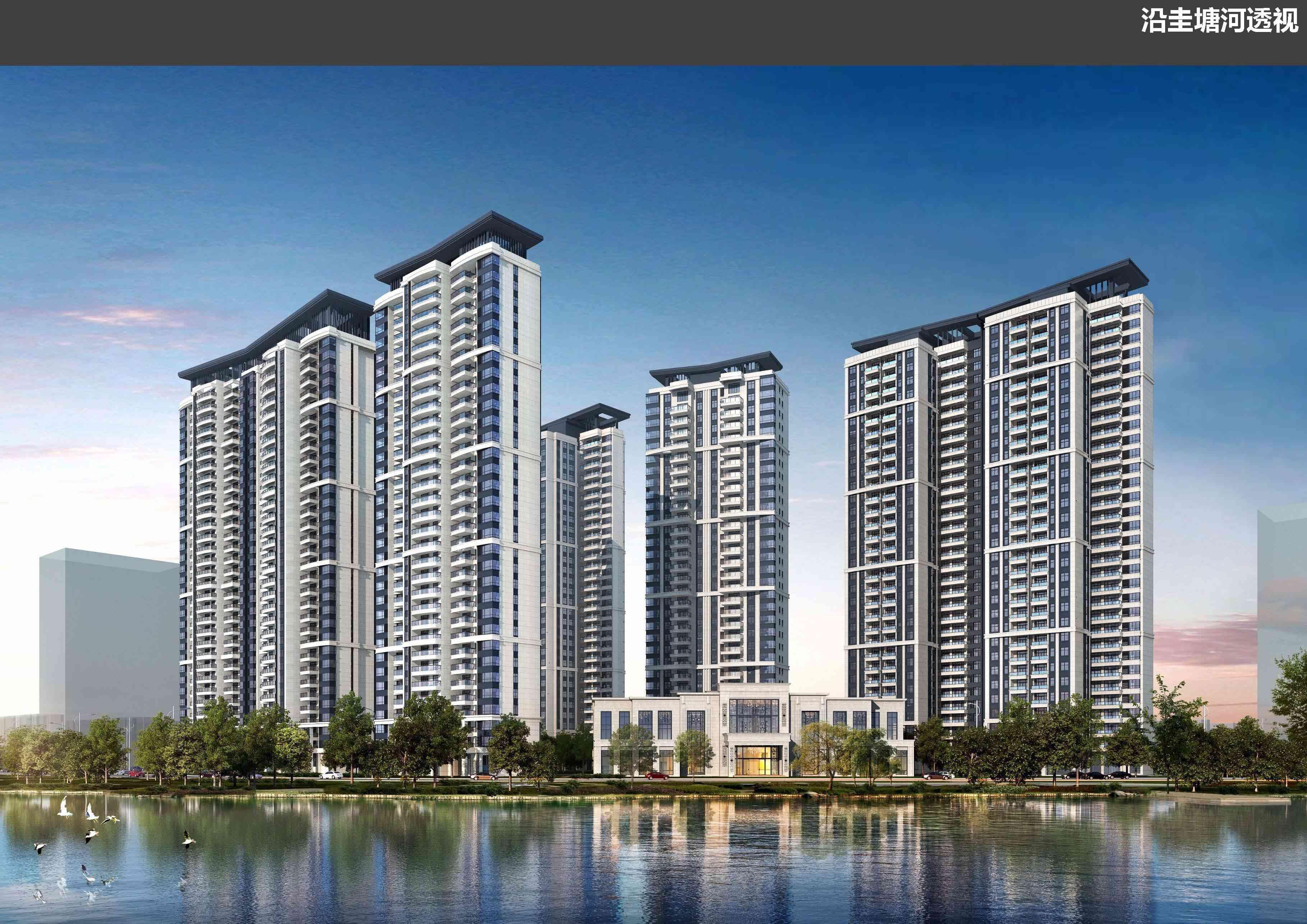 湘林高桥项目 沿圭塘河透视图