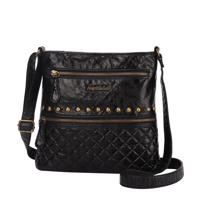 Angel Barcelo品牌女包20新款欧美时尚单肩铆钉小方包油蜡斜挎包